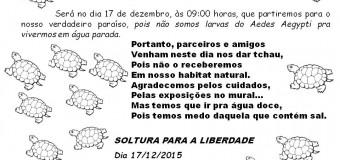 Projeto Quelônios em Araguacema,marca data de soltura dos filhotes.